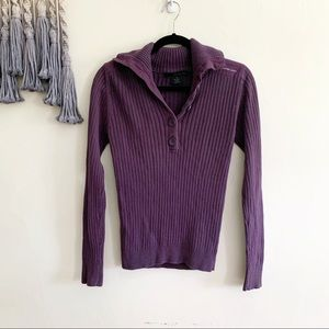 Calvin Klein • ribbed 1/4 button up sweater